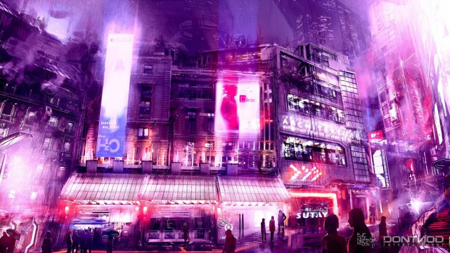 fantasy city pink wallpaper
