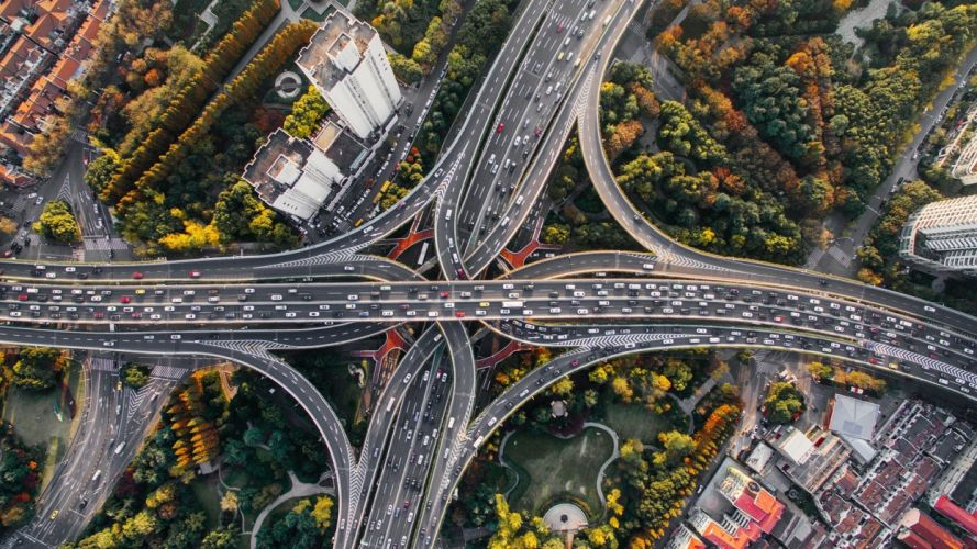 architecture building city cityscape road highway crossroads trees car traffic aerial view bird's eye view Shanghai China wallpaper