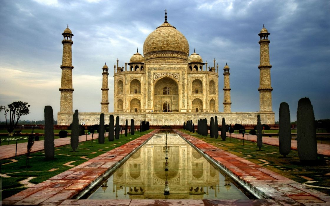 architecture mausoleum building Indian IndiaTaj Mahal ancient water trees wallpaper