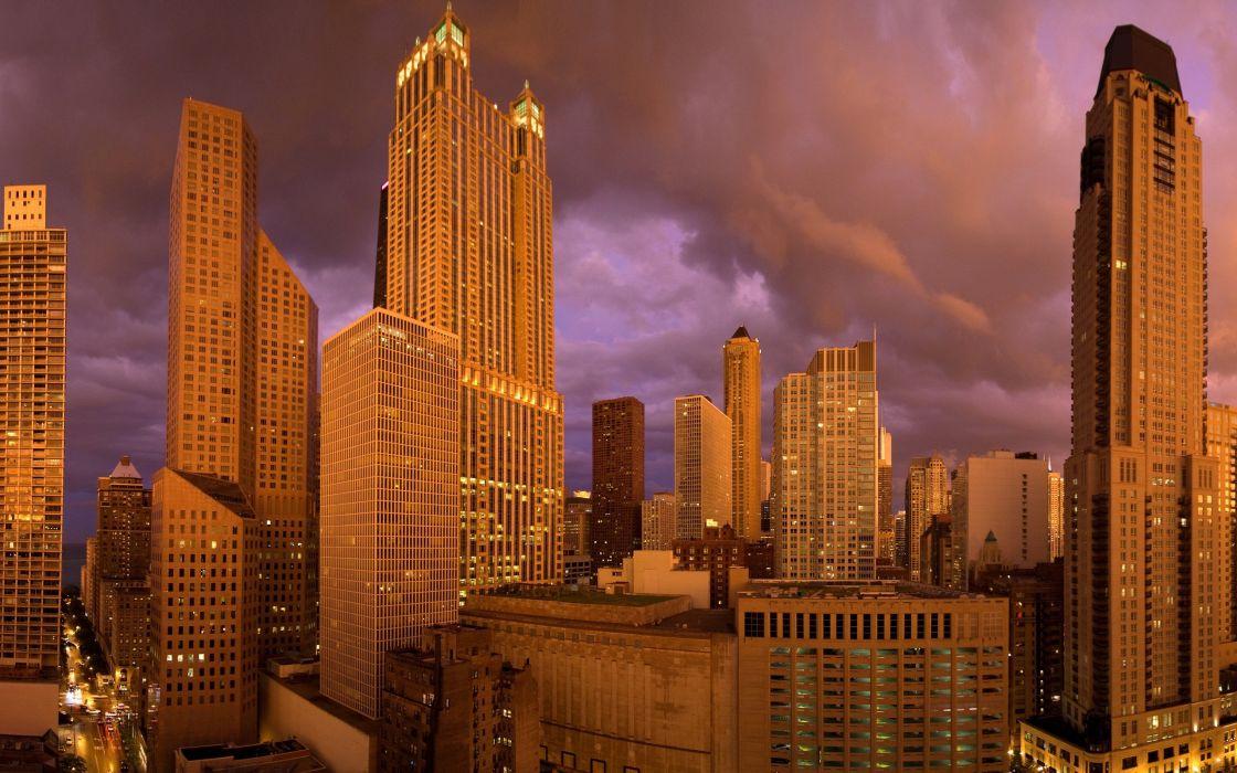 cityscape architecture building city ChicagoUSA skyscraper street evening clouds lights wallpaper