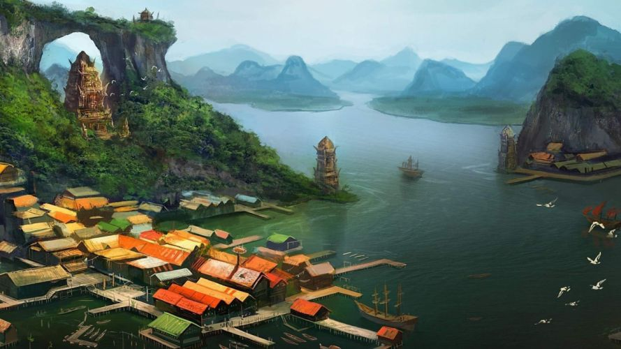 digital art fantasy art architecture building house artwork painting rooftops village Asian architecture lake mountains birds pier tower ship nature trees wallpaper