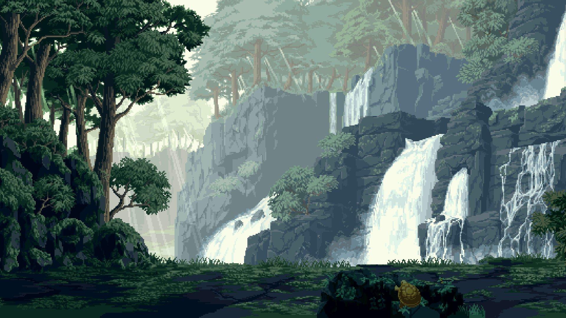 Digital art pixel art pixelated pixels nature landscape ...