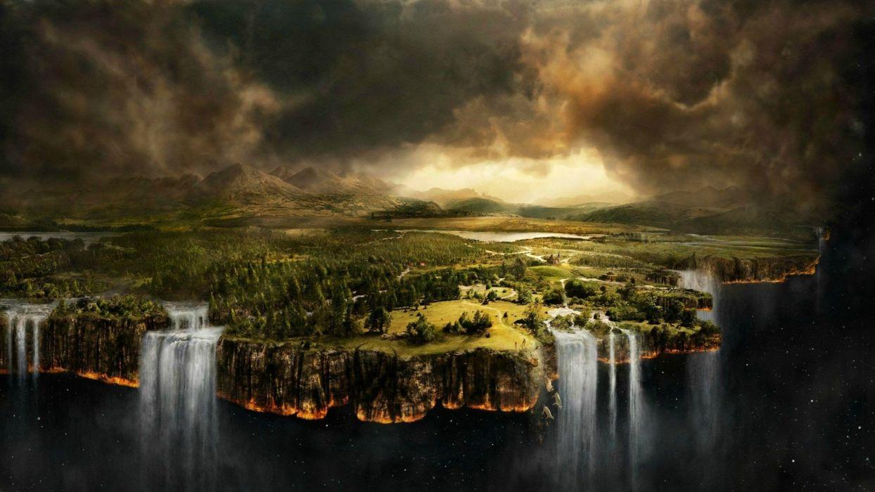 digital art nature landscape waterfall space forest wallpaper
