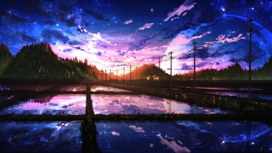 digital artlandscape sunlight trees building clouds forest Moon night Nobody reflection sunset water anime wallpaper