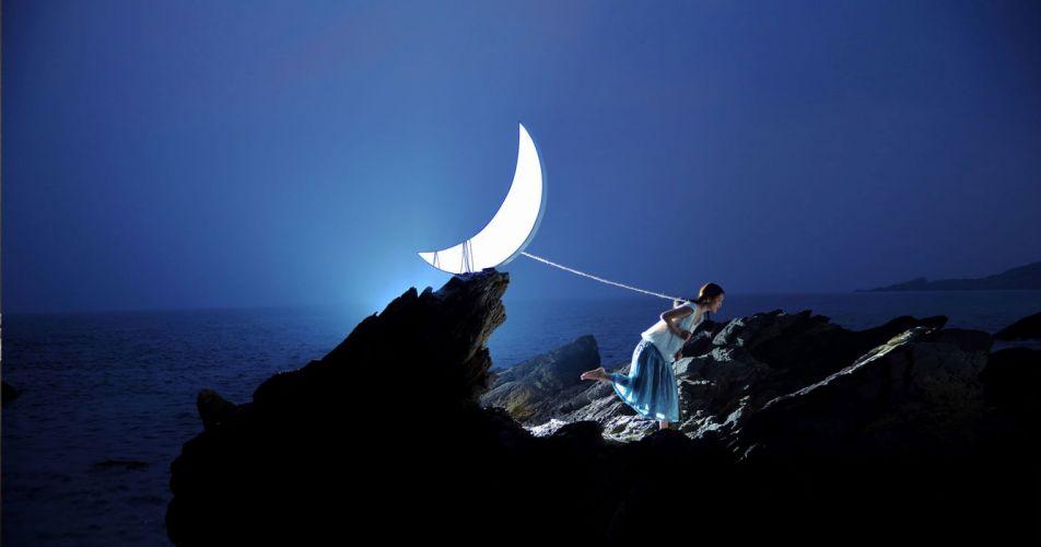 girl moon sea blue wallpaper