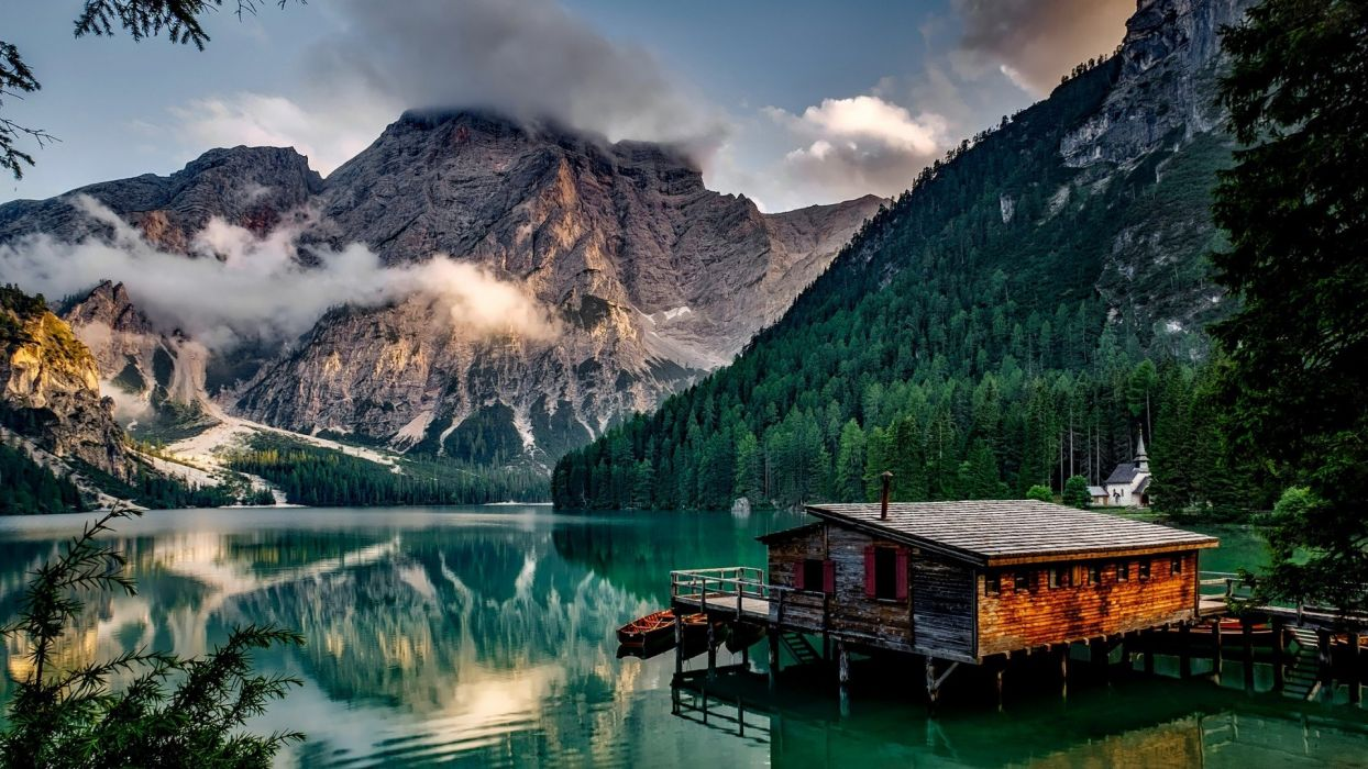 lake mountains landscape building Italy clouds boat house wallpaper
