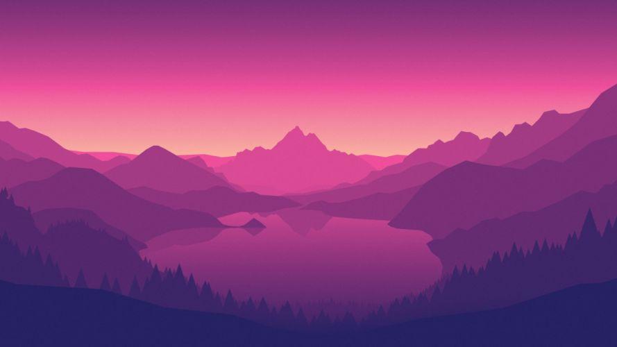 Lakeside morning pink wallpaper