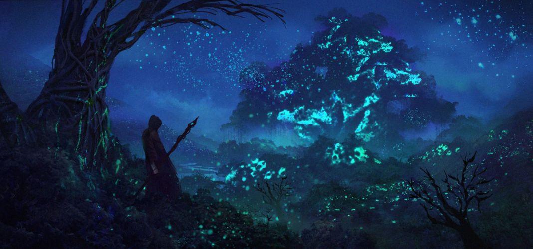 fantasy art warrior magic night trees blue wallpaper