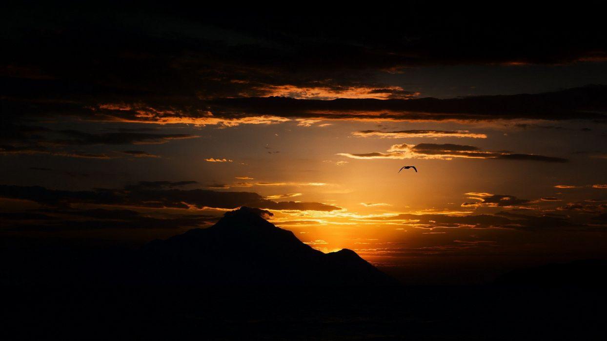 landscape mountains sunset wallpaper