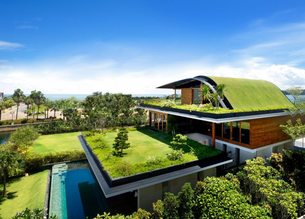 landscape building grasss wimming pool house wallpaper