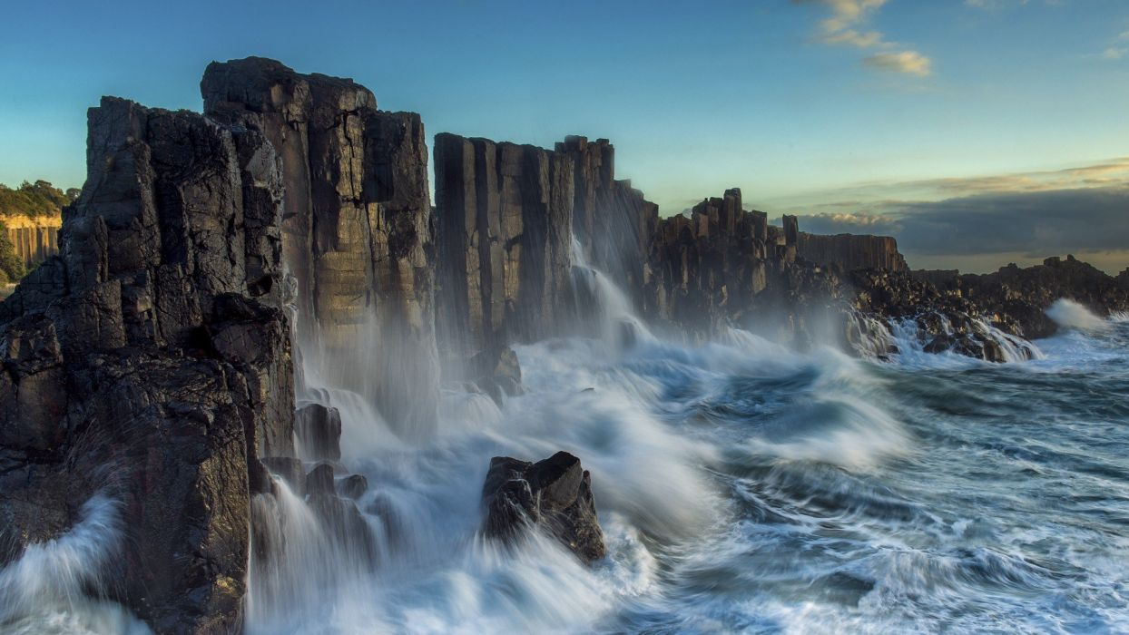 nature landscape sea waves coast long exposure cliff rock clouds Australia rock formation wallpaper