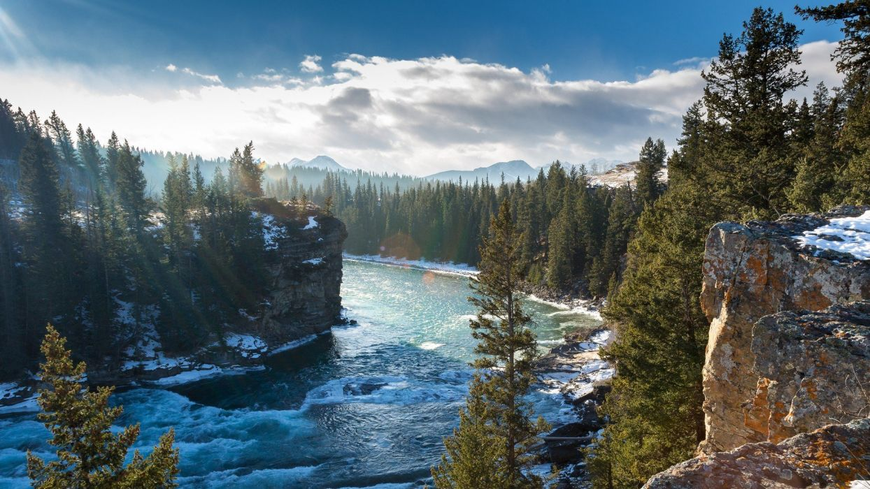 nature river trees Canada landscape clouds waves mist wallpaper