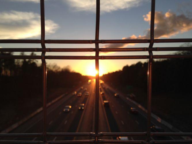 sunset cars sky clouds wallpaper