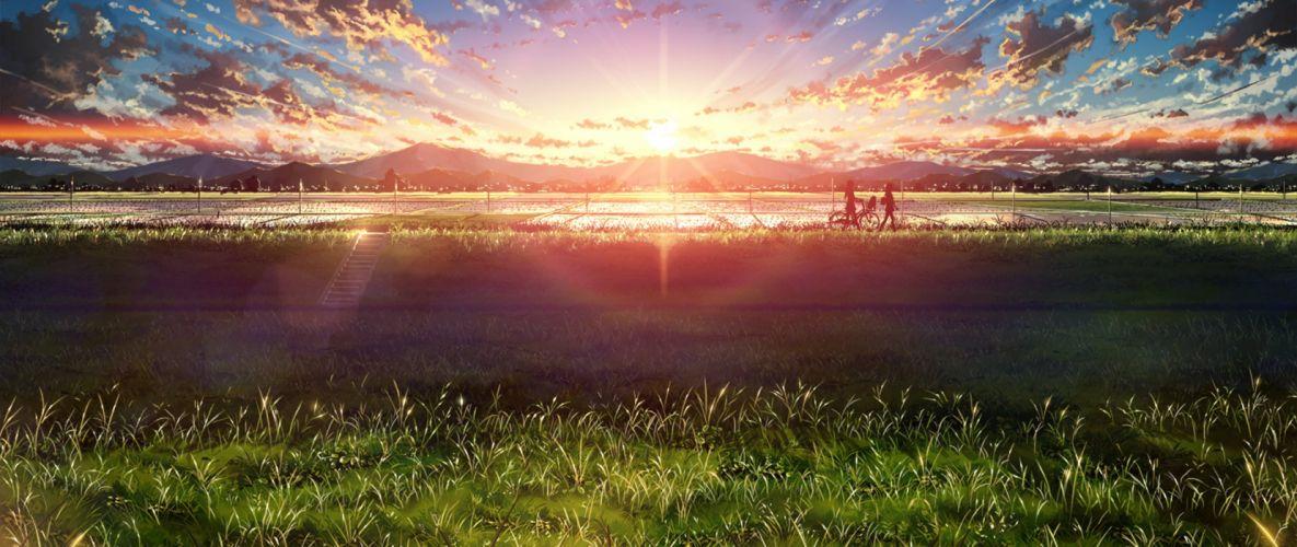 ultra-wide Japan anime sky sunlight wallpaper