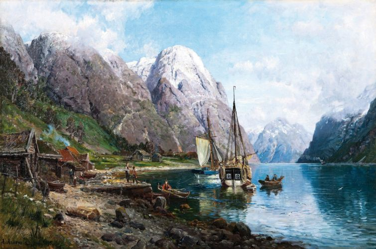 artwork painting classic art traditional art Anders Askevold Norway nature landscape ship sailing ship boat mountains lake house clouds people snowy peak wallpaper
