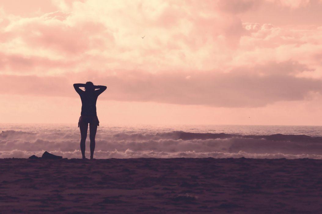 women silhouette filter sea landscape wallpaper