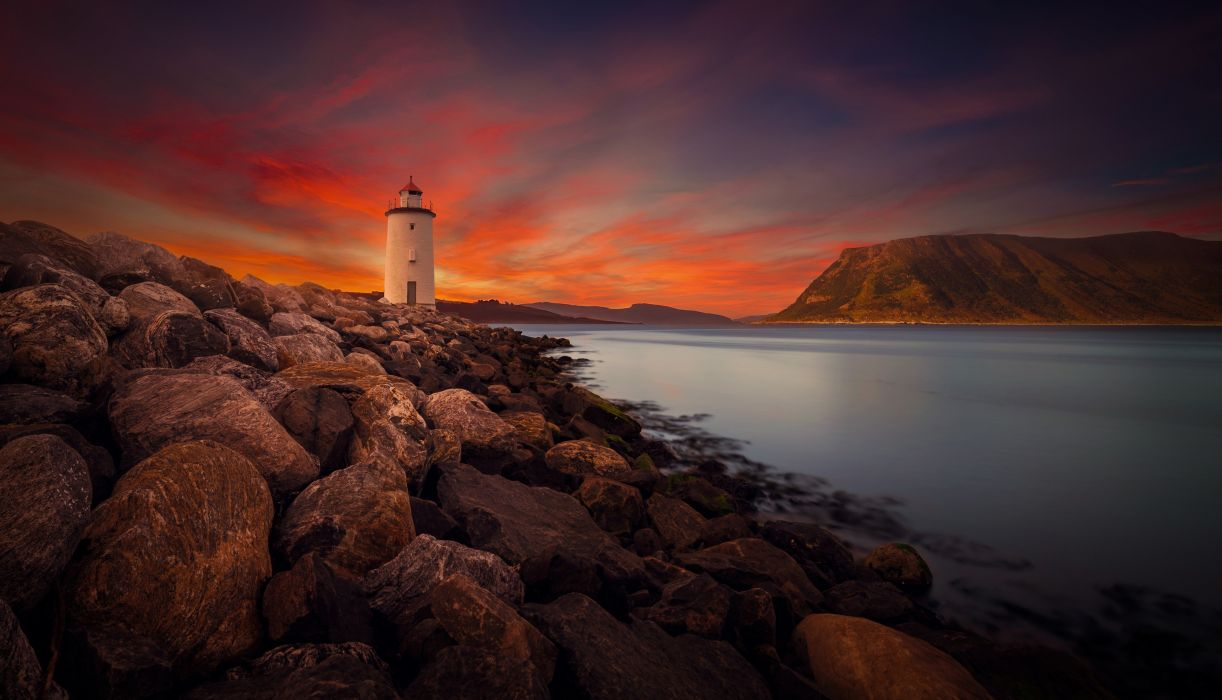 landscape sky light house wallpaper