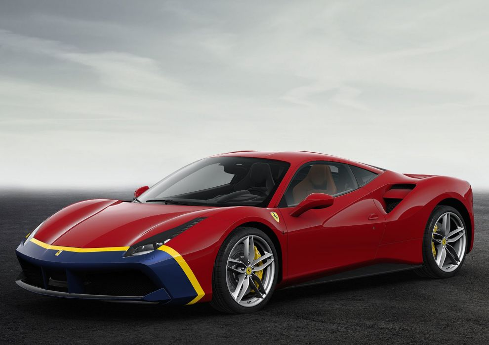 2016 Ferrari 488 GTB 70th anniversary cars edition ferrari motor paris show cars 2+2 wallpaper