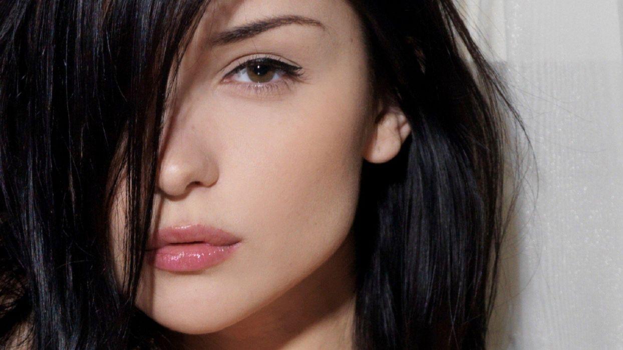 Katie Fey women brunette model face closeup eyes lips wallpaper