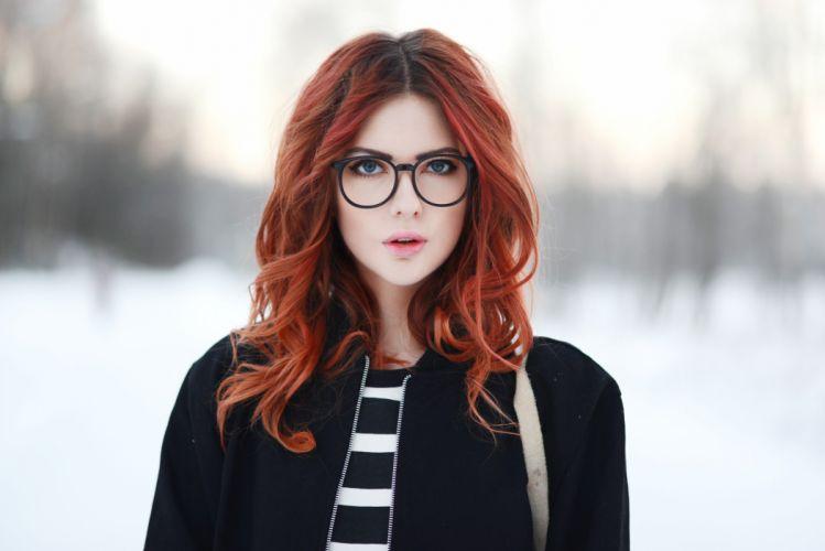 women Ebba Zingmark redhead long hair glasses open mouth wallpaper