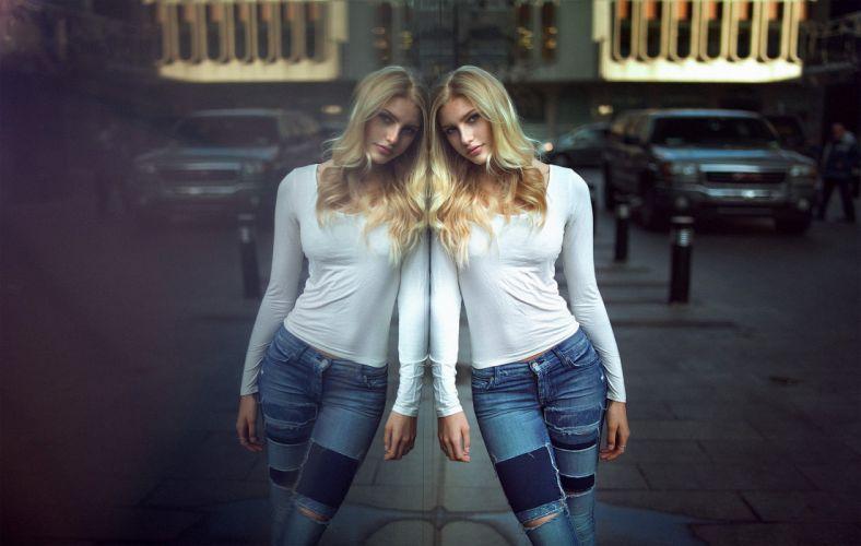 women blonde portrait jean storn jeans glass reflection urban wallpaper