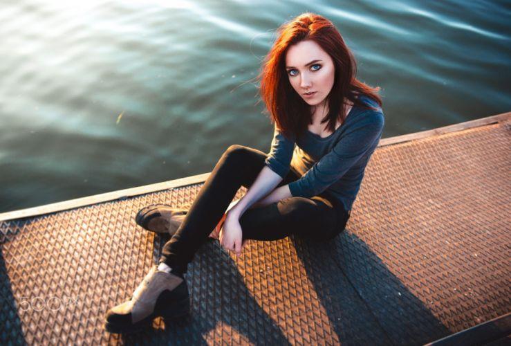 women redhead sitting pants looking at viewer water portrait blue eyes wallpaper