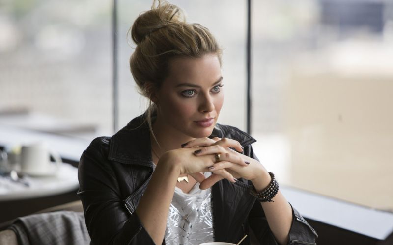 Margot Robbie women hair bun painted nails blue eyes actress bracelets leather jackets wallpaper