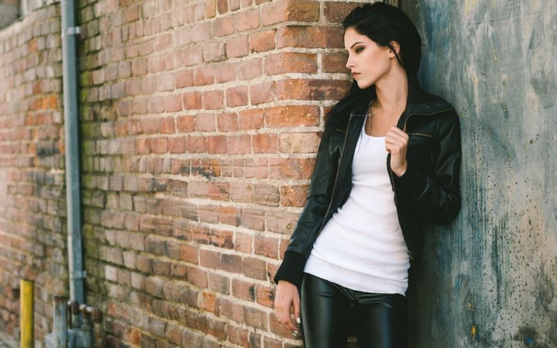 women dark hair leather jackets white tops leather pants smoky eyes side view wallpaper