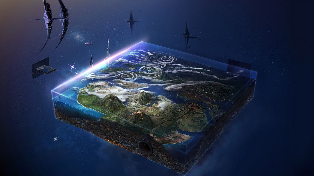 science fiction Earth space3D digital art surreal geography glowing David Fuhrer wallpaper