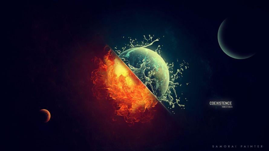 fire water digital art space universe planet Sun Moon Earth wallpaper