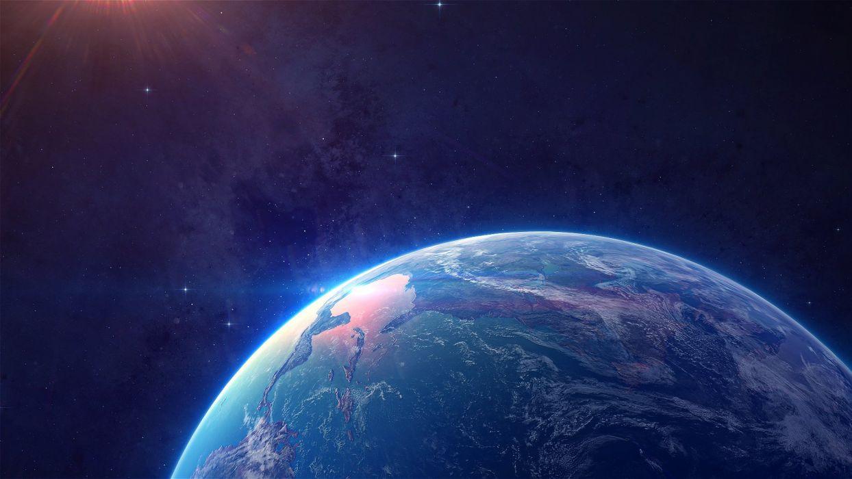 space planet digital art wallpaper