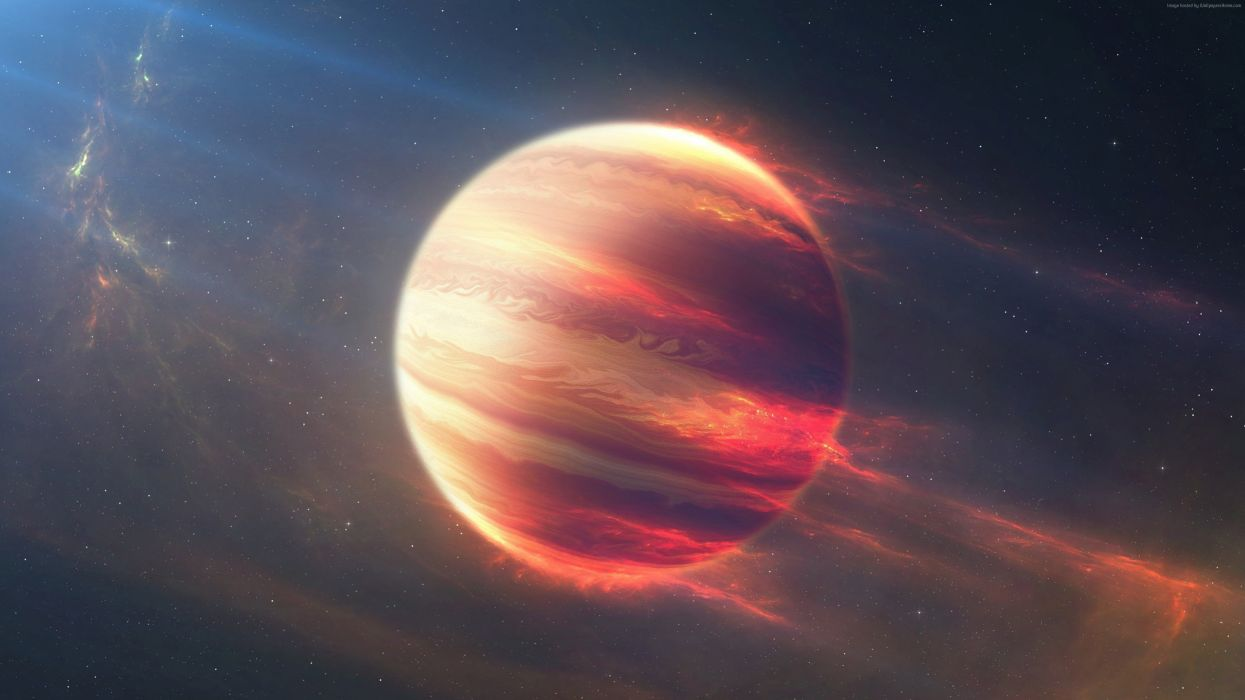 space planet red wallpaper