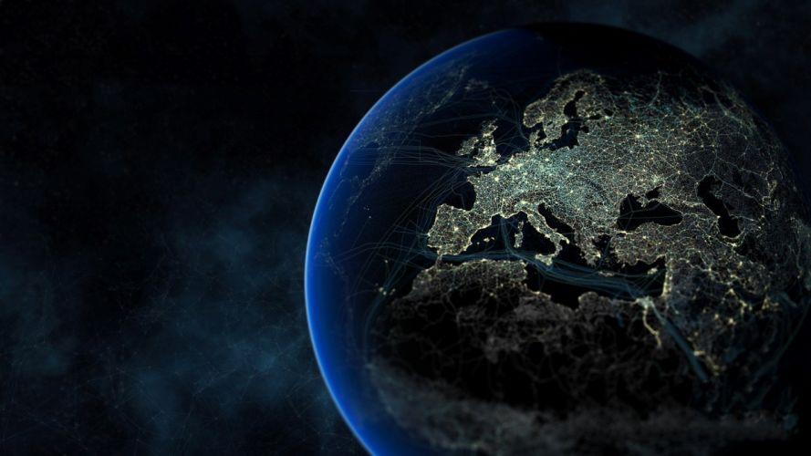 Earth Europe planet space lights digital art wallpaper