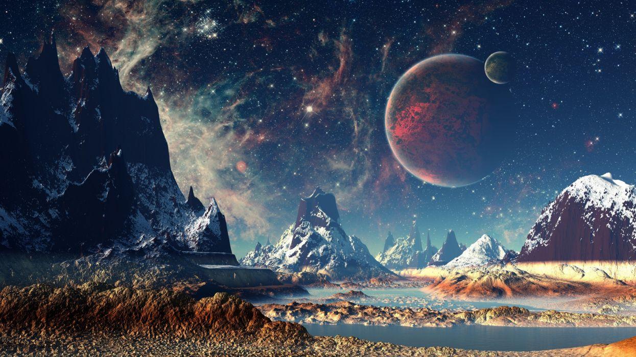 stars planet space mountains digital art artwork wallpaper
