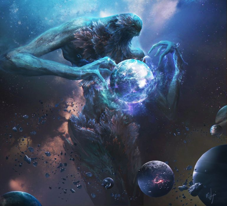 fan art space planet aliens universe abstract Fang Xinyu wallpaper