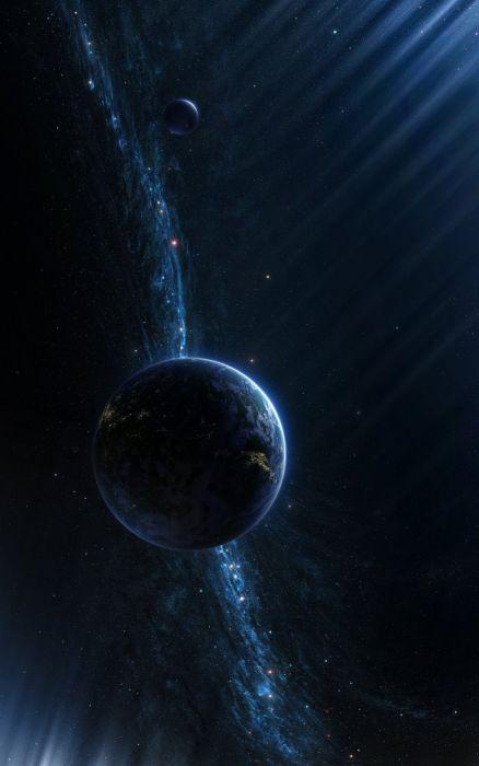 digital art portrait display CGI space universe planet stars wallpaper