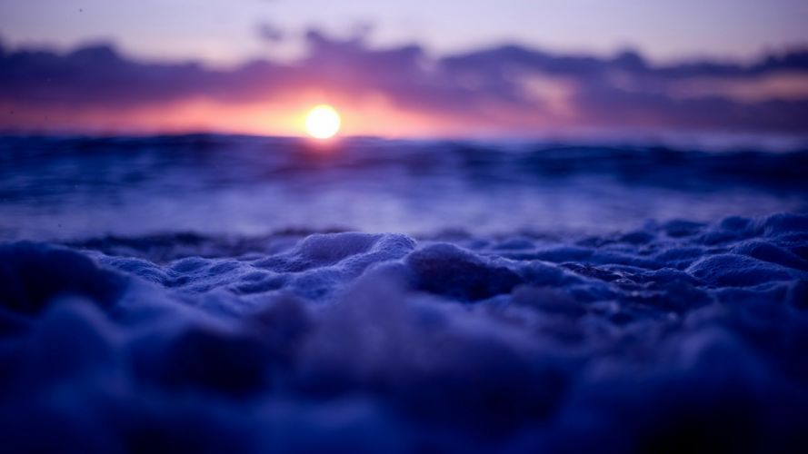 nature landscape water sunset bubbles sea clouds depth of fieldwaves wallpaper