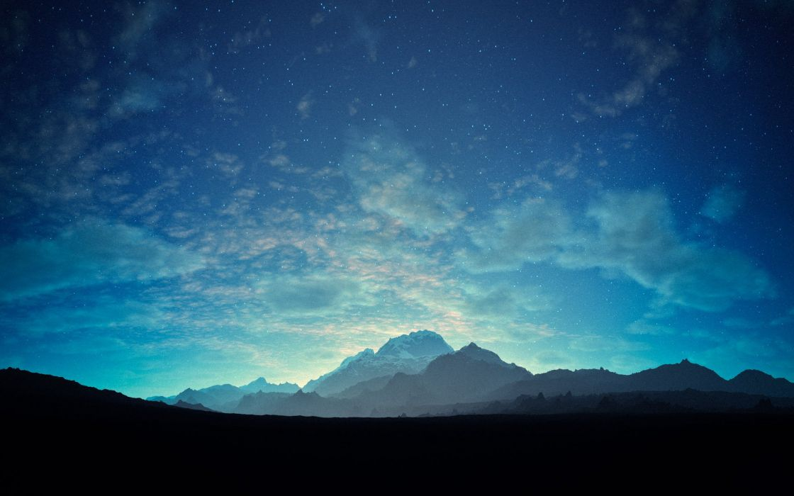 blue stars mountains starry night clouds landscape wallpaper