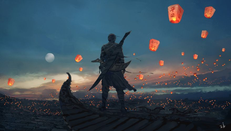 digital art candles lantern Moon landscape sword sky lanterns WLOP fantasy art wallpaper