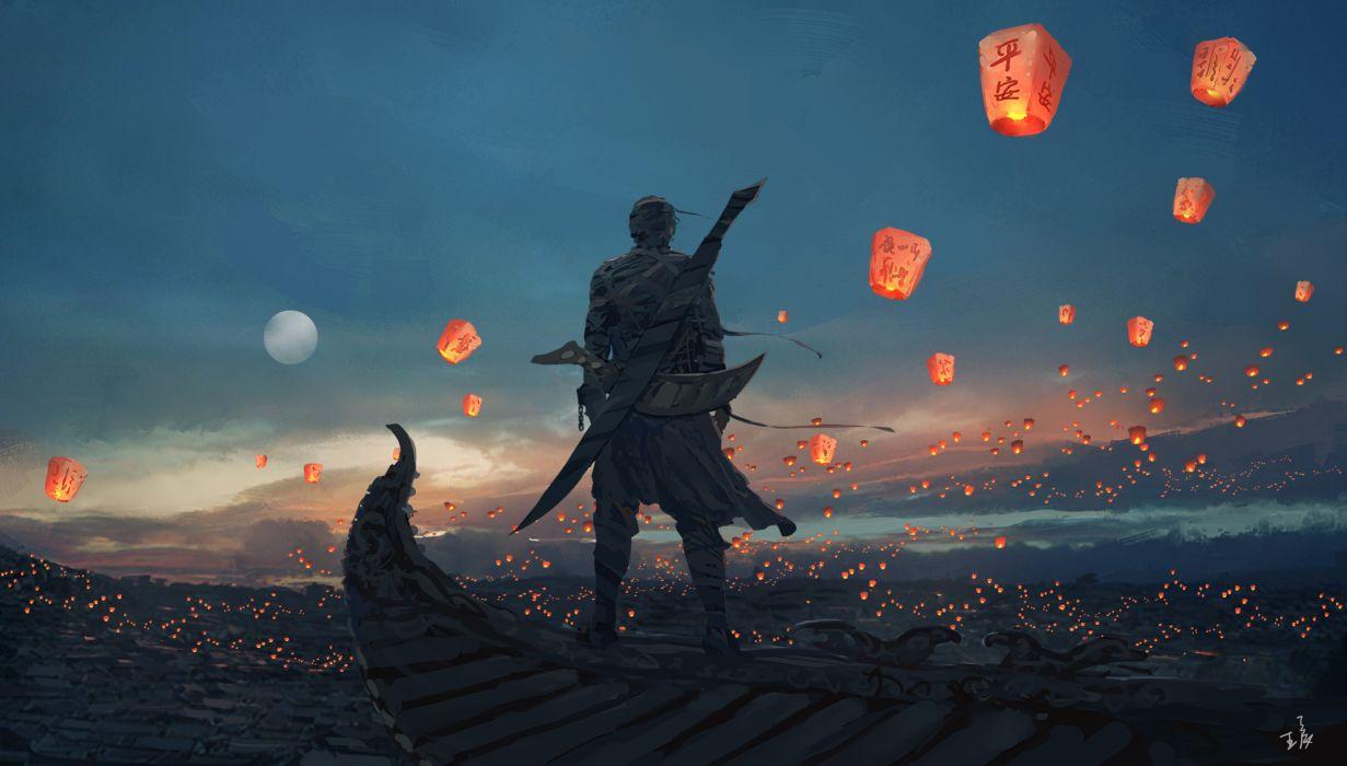digital art candles lantern Moon landscape sword sky lanterns WLOP fantasy art wallpaper