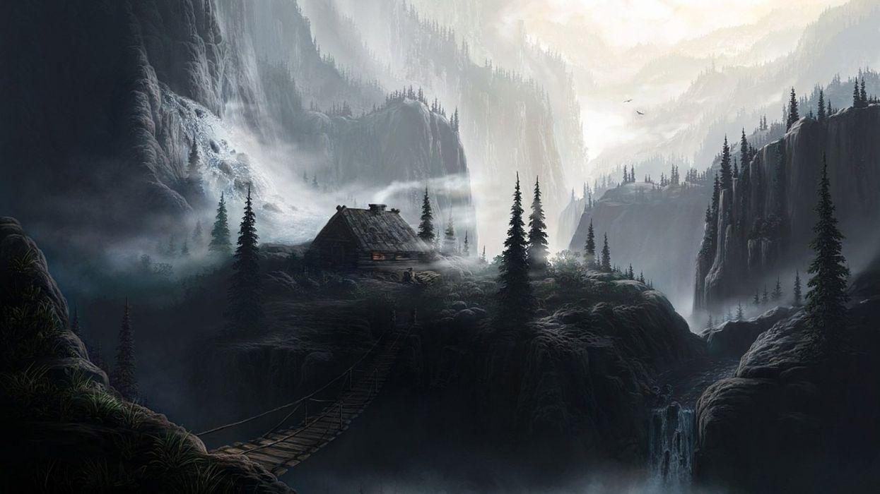 landscape nature artwork house mountains mist fantasy art wallpaper