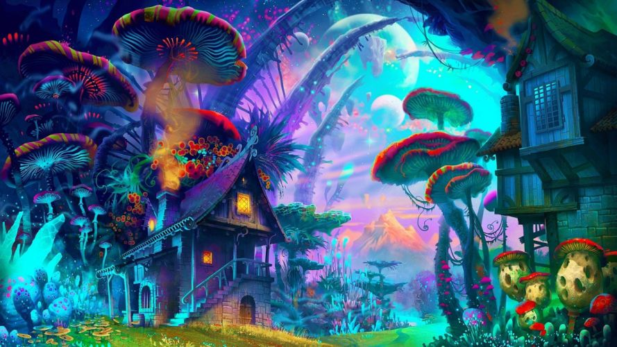 fantasy art drawing nature psychedelic colorful house wallpaper