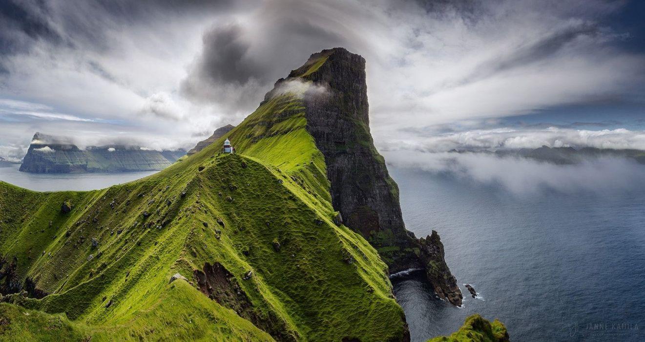 nature photography landscape light house cliff sea clouds grass Faroe Islands wallpaper