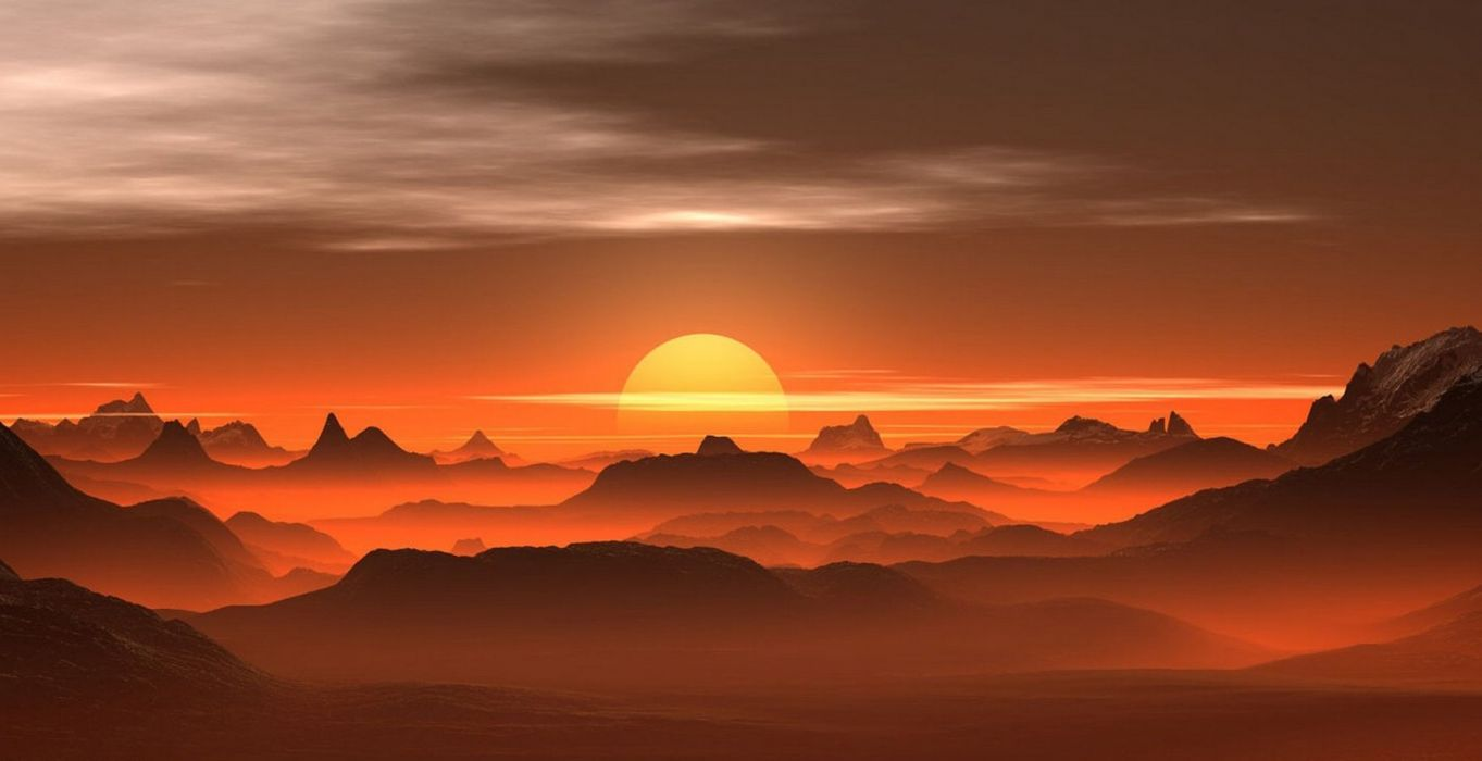photography nature landscape mountains sunset mist amber desert wallpaper