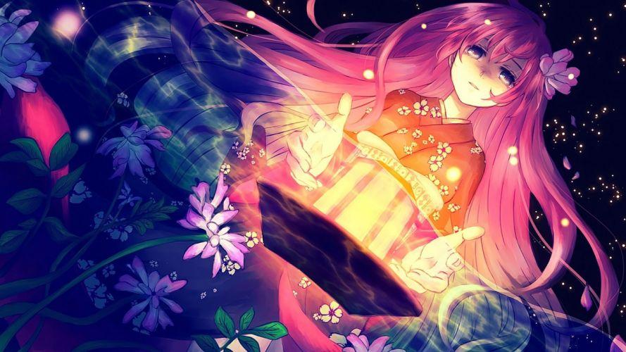 anime anime girls pink hair long hair blue eyes wallpaper