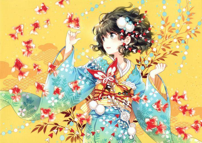 anime anime girls kimono Japanese clothes fish original characters wallpaper