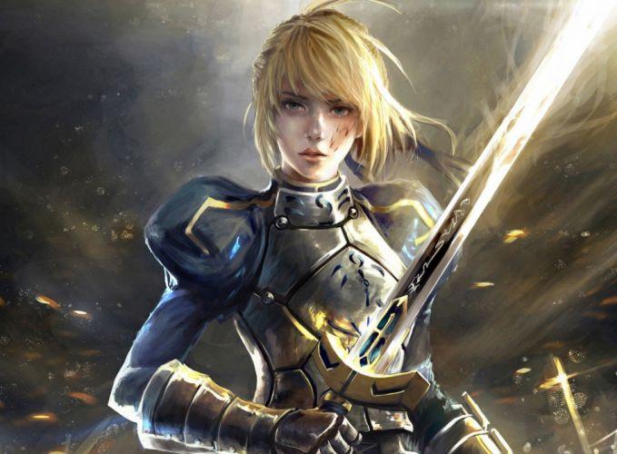anime beautiful girl warrior sword fantasy art artwork women Saber Fate Series wallpaper