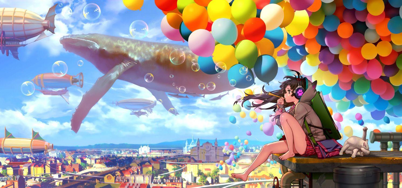 anime girls aircraft barefoot bubbles cat city clouds wallpaper