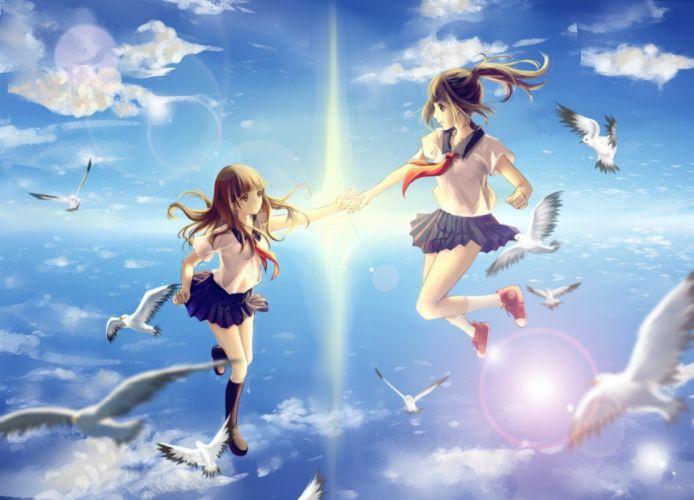 anime girls school uniform original characters flying birds wallpaper