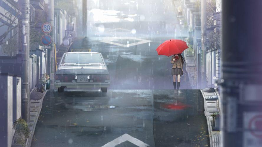 anime girls anime Aozaki Aoko umbrella school girlr ain street manga Mahoutsukai no Yoru urban wallpaper